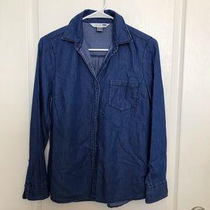 Old Navy Soft Lightweight Denim Blouse Top Small
